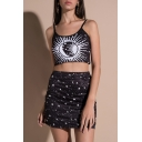 Hot Fashion Sun Moon Star Print Sleeveless Cropped Cami with Mini Pencil Skirt