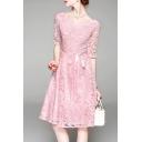 Elegant Lady's Floral Embroidered Round Neck Half Sleeve Midi A-Line Dress