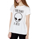 Cool Style Alien Letter YOUR PLANET IS NEXT Print Round Neck Short Sleeves Summer T-shirt
