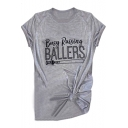 Basic Letter BUSY RAISING BALLERS Baseball Print Round Neck Short Sleeves Casual Tee