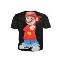 Casual Smoking Cartoon Print Round Neck Short Sleeves Leisure T-shirt