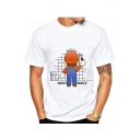 New Trendy Cartoon Game Mario Character Letter Printed Round Neck Short Sleeve Tee