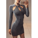 Women's Fashion Plain Hollow Out Round Neck Long Sleeve Mini Bodycon Dress