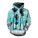 Hot Fashion Beach Palm Tree Landscape Print Long Sleeves Pullover Loose Hoodie