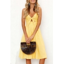 Plain Hollow Out Tied Front Spaghetti Straps Sleeveless Buttons Embellished Midi Cami Dress