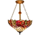 Three Light Flower Designed Tiffany Style Inverted Hanging Pendant Lamp, Multi-Colored, 16-Inch Wide