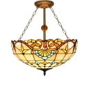 Classic Art Tiffany Semi Flush Mount in Baroque Style with Warm Orange Glass Shape, 3-Light 20