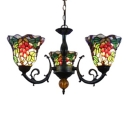 Three Light Tiffany Fruitage Chandelier with Multicolor Glass Shade