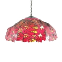 Red Flower Dome Shade Tiffany Ceiling Fixture with 2 Light and Art Glass in Vintage Style