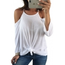 Simple Basic Plain Cold Shoulder Hollow Out Back Loose Spring Tee