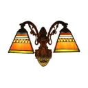 Mediterranean Tiffany Stained Glass Shade Downlighting Wall Sconce,Orange-red