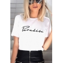 PARADISE Letter Printed Round Neck Short Sleeve Tee