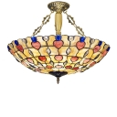 5-Light Jewel Accented Handmade Shell Inverted Pendant Light for Living Room 2 Designs for Option
