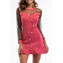 Sheer Mesh Insert Round Neck Long Sleeve Buttons Down Ruffle Hem Mini A-Line Dress