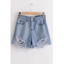 Ripped Hot Pants Zipper Fly High Waist Denim Shorts