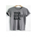 YOGA COFFEE Letter Printed Round Neck Short Sleeve Tee