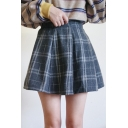 Elastic Waist Plaid Printed Mini A-Line Skirt