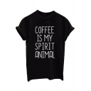 COFFEE IS MY SPIRIT ANIMAL Letter Printed Short Sleeve Tee