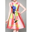 Color Block Floral Printed Round Neck Sleeveless Slim Midi A-Line Dress