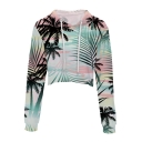 Chic Coconut Tree Printed Drawstring Hood Long Sleeve Crop Hoodie