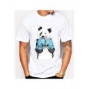Stylish Boxer Panda Print Round Neck Short Sleeves Summer T-shirt