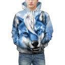 Unique Wolf Print Long Sleeves Pullover Unisex Casual Hoodie