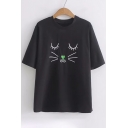 Cute Cat Face Embroidered Round Neck Short Sleeve Leisure Loose Tee