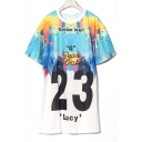 Fashionable Number Color Block Letter DREAM MAIL Print Summer Tunic Tee