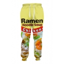 Unique Ramen Letter Food Print Drawstring Waist Loose Leisure Pants
