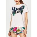 Sequined Cactus Letter Printed Round Neck Short Sleeve Summer Tee