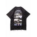 Letter Astronaut Printed Round Neck Short Sleeve Unisex Tee