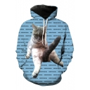 Cute Cat Kitty Letter Print Long Sleeves Pullover Unisex Hoodie