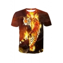 Men's Fashion Tiger in Flame Fire Pattern Round Neck Short Sleeves Summer T-shirt