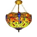 Classic Art Tiffany Semi-Flush Mount Ceiling Fixture with Colorful Dragonfly Pattern, 3 Light, 16-Inch Wide Glass Shade