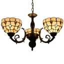 Diamonde Theme Tiffany Style Chandelier Three Light Corlorful Glass Lampshade