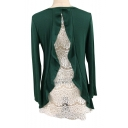 Lace Panel Round Neck Long Sleeve Ruffle Detail Loose Tee