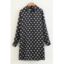 Polka Dot Printed Patchwork Lapel Collar Long Sleeve Mini Shirt Dress