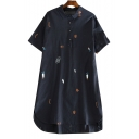 Childish Embroidered Lapel Collar Short Sleeve Buttons Down Midi Shirt Dress