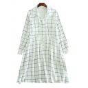 Leisure Plaid Printed Lapel Collar Long Sleeve Buttons Down Midi Shirt Dress