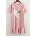 Cute Rabbit Letter Printed Round Neck Short Sleeve Ruffle Hem Mini T-Shirt Dress