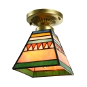 Colorful Pyramid Shaped Flush Mount Ceiling Light with Tiffany Mission Glass Shade, 6