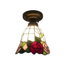 Floral Theme Bell Shaped Flush Mount Ceiling Light with Tiffany-Stlye Multi-Colored Glass Shade