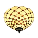 Tiffany Art Glass Bowl Shade Flush Mount Ceiling Light in Beige 11.81