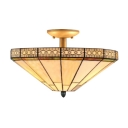 2-Light Semi-Flush Mount Ceiling Fixture with Tiffany White Stained Glass, 16-Inch Wide Conical Lampshade