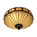 Geometric Glass Shade in 16-Inch Wide Tiffany Style 2 Light Semi-Flush Mount Ceiling Fixture