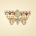 2 Light Double Wall Sconce with Tiffany Style Tulip Pattern Glass Shade, 14-Inch Wide