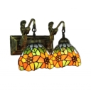 Sunflower Pattern Tiffany-Style Wall Lamp Mermaid and Stained Glass Shade, 2-Light