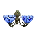 Dome Shaped 2 Light Double Wall Sconce with Tulip Theme Stained Glass Shade in Blue/Clear, Tiffany Style