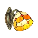 Vintage Wall Sconce with 6''W Dome Pattern Glass Shade in Yellow