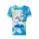 Unicorn Rainbow Printed Round Neck Short Sleeve Tee